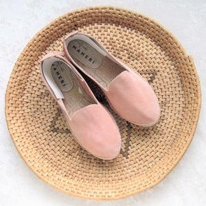 NWOB Manebi pink suede espadrille loafer flats